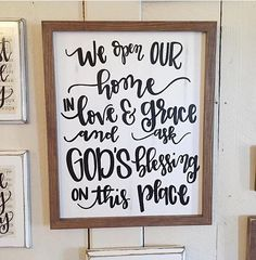 We open our home in love and grace  distressed wood sign