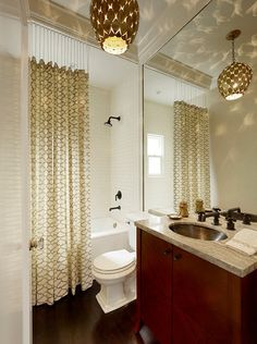 To Let Natural Light It, Drop The Shower Curtain Down With Chains.  Transitional Bathroom