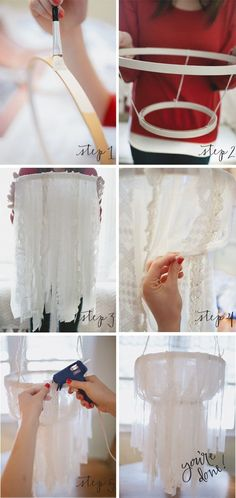 DIY fabric chandelier... Would be pretty if you strung some lights under fabric