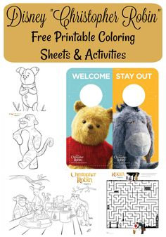 Nanny to Mommy: Christopher Robin Prize Pack Giveaway {PLUS Free Printable Coloring Sheets & Activities} Disney Christopher Robin, Free Printable Coloring Sheets, Activity Sheets, Free Printables, Giveaway, Teddy Bear, Packing, Crafty, Activities