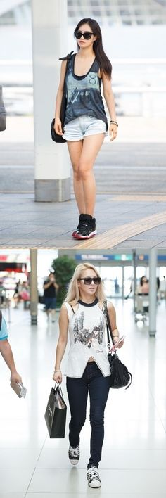 Girl's Generation's airport fashion, cool and shapely legs!! #girlsgeneration #airportfashion #yuri #hyoyeon