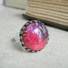 Adjustable Silver Ring Fire Opal Jewelry Blue Red by pink80sgirl