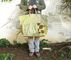 Tree Hugger Weekender  grün Senf hellbraunem Leder von StarBags, $198.00