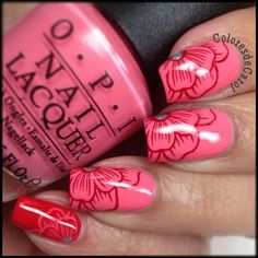 Pink and Red Floral Nails With Rinestones