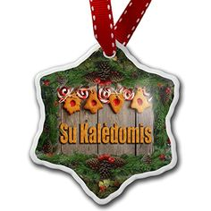 Christmas Ornament Merry Christmas in Lithuanian from Lithuania - Neonblond * Check this awesome product by going to the link at the image.