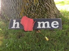 Wisconsin Home hand painted wood pallet sign state by SassyPantsSigns,