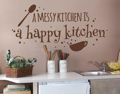*Braun* - Wandtattoo Happy Kitchen