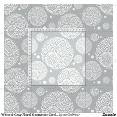 White & Grey Floral Geometric Circles