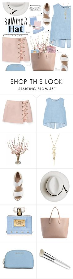 """""""Top It Off: Summer Hats"""" by palmtreesandpompoms ❤ liked on Polyvore featuring Rebecca Minkoff, Steve J & Yoni P, Alexis Bittar, André Assous, Calypso Private Label, Versace, Rochas, MICHAEL Michael Kors, Trish McEvoy and rebeccaminkoff"""