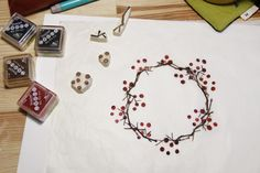 make a wreath by easy eraser stamp, make it by your own