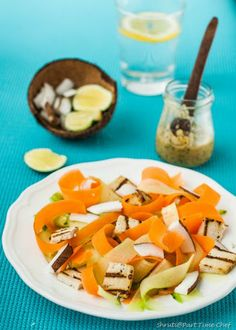 shaved carrot and cucumber salad with fresh coconut and grilled Tofu with Thai inspired dressing...