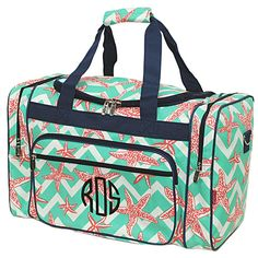 eed3e2146f Monogrammed Green Chevron Starfish Duffel Bag