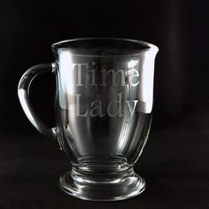 Whovians, its time for tea! (Or coffee!)  This 16-oz Doctor Who themed glass cafe mug has been hand-etched with Time Lady prominently displayed so