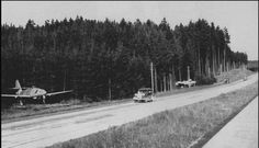 Parking jet fighter-bombers Messerschmitt Me-262 A-1a 1st Squadron 51th Bomber Squadron (1.KG51) on the side of the road Munich - Salzburg. The picture was taken in the occupied parts of the territory of the Allies.