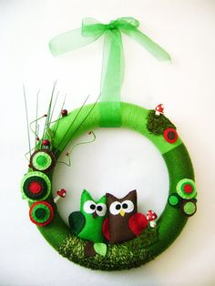 Two Owls Wreath - RedMarionette - Etsy