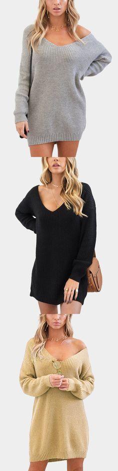Grey Oversized Plunging V-neck Knit Sweater Dress