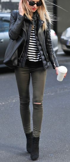 Stripes and olive. Booties. Ankle boots. Leather jacket. Night out.