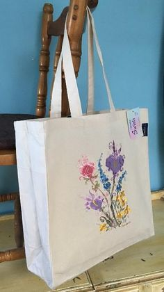 Range of gifts designed by Sophie Appleton Artist. Printed and Embroidery Tote Bags. Flower Bag, Swirls, Reusable Tote Bags, Embroidery, Country, Prints, Needlework, Needlepoint, Rural Area