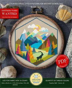 This is modern cross-stitch pattern of Alps for instant download. You will get 7-pages PDF file, which includes: - main picture for your reference; - colorful scheme for cross-stitch; - list of DMC thread colors (instruction and key section); - list of calculated thread length