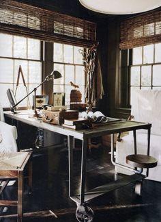 Industrial desk, home office, Bobby McAlpine