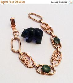 Green Jade Bracelet Gold Tone Heart Art Deco Vintage by OurBoudoir