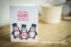 """Liebt ihr Pinguine auch so wie ich? Ich freue mich ganz besonders dass es das Stempelset """"Es schneit!"""" aus dem Herbst-/Winterkatalg geschafft hat und noch weiter bei Stampin' Up! erhältlich sein wird, ich find's nämlich total süß :-) Stampin Up, Blog, Card Crafts, Fall, Stamping Up"""