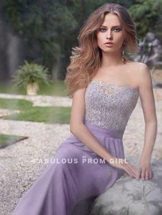 A-line Strapless Lace Sleeveless Floor-length Chiffon Bridesmaid Dresses