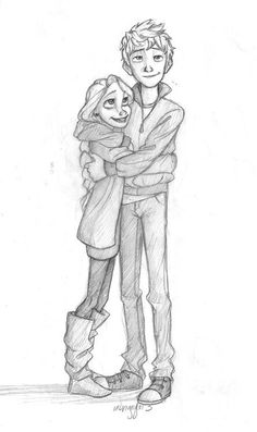 Jack Frost and Rapunzel  ( Rapunzel is with Flynn because Flynn is awesome^-^) and is Jack wearing shoes???