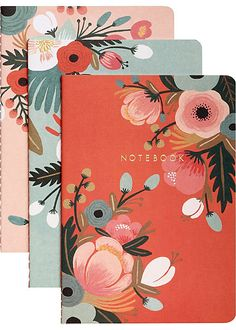 Botanicals notebook collection • from Rifle Paper Co. • $12.95 • Buy here: http://www.chroniclebooks.com/titles/botanicals-notebook-collection.html