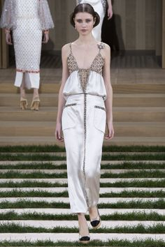 Chanel Spring 2016 Couture Fashion Show - Victoria Kosenkova-love the idea of a brooch at the strap, SJS is going to do that for sure!