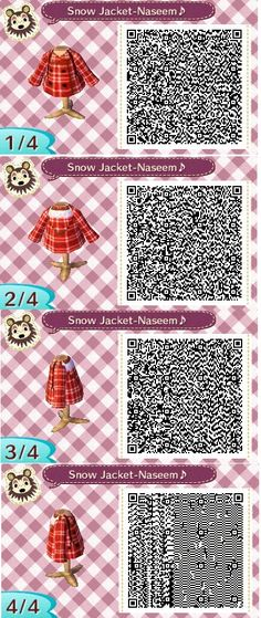 Cute red plaid snow jacket I made :) #acnl qr codes