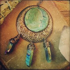 ☮ American Hippie Bohemian Style ~ Boho Jewelry .. Necklace .. mandala moon, a gypsy moon and rainbow quartz!
