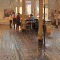 "In the Museum, 12 x 12"" framed oil"