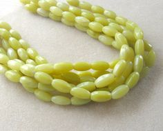 Olive Jade Barrel Beads Gemstone Beads by CatsBeadKitsandMore