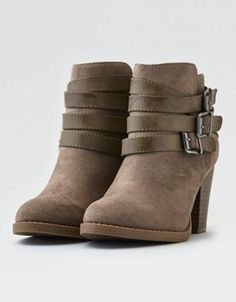 b506b8717dc93 AEO Triple Buckle Heeled Bootie by American Eagle Outfitters   The boot  route. These boots