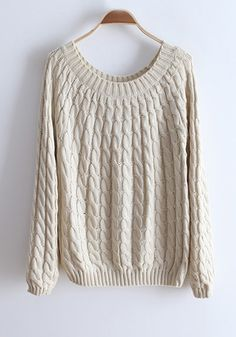 Beige Round Neck Long Sleeve Cotton Sweater