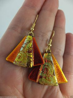 ANGEL in RED ORANGE GOLD * Dichroic Glass Earrings w Gold Surgical steel hooks by Cheryl Smith