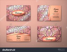 Vector Vintage Visiting Card Set. Floral Mandala Pattern And Ornaments. Oriental Design Layout. Islam, Arabic, Indian, Ottoman Motifs. Front Page And Back Page. - 377901679 : Shutterstock