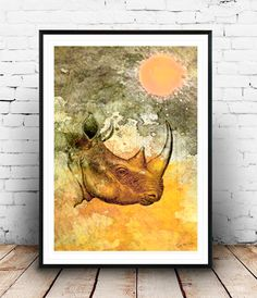 Rhino Africa color animals Home deco elegant por SoulArtCorner