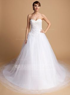 Ball-Gown Sweetheart Chapel Train Tulle Wedding Dress With Lace Beading (002014717) - JJsHouse