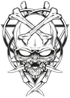 Skull knife illustration by Shulyak Brothers