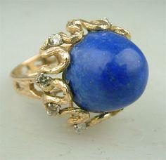 vintage jewelry | Retro Vintage Gold Lapis Lapis Diamond Cocktail Ring Estate Jewelry ...