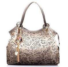 Hollow Out Large Leather Tote Bag 2016 Luxury Women Shoulder bags 6a825b7b6c8a1