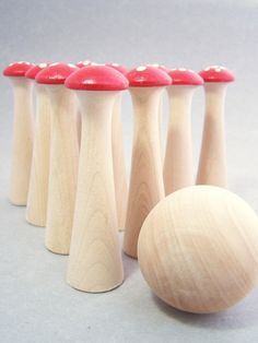 toadstool skittle game for garden woodland fairy birthday party