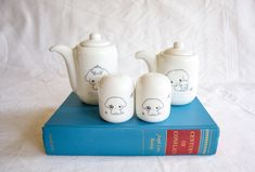 San-X Porcelain Dog / Puppy Salt and Pepper Shakers and 2 Pitchers | Japanese Tableware