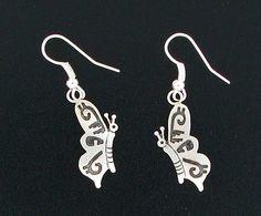 Sterling Silver Navajo Butterfly Dangle Earrings by Robert Gene