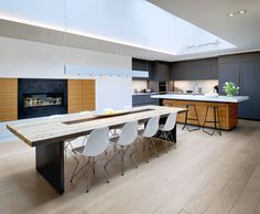 Kitchen with salvaged wood dining table