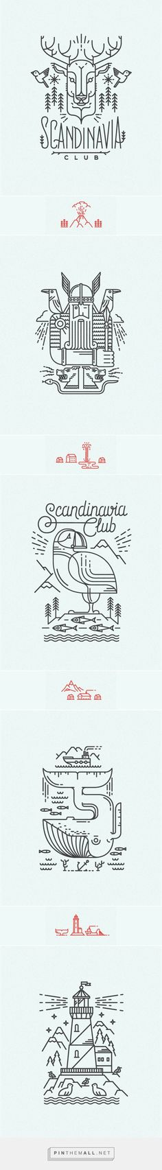 Scandinavian line illustrations for Scandinavia Club in Moscow