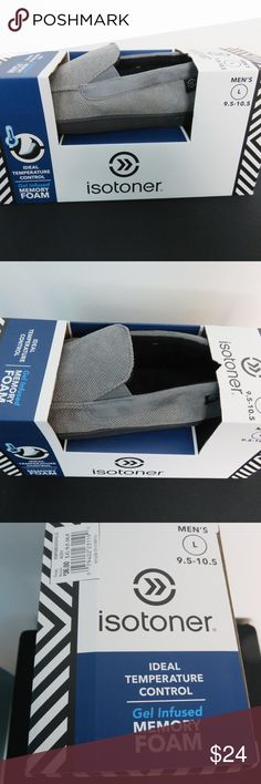 Isotoner Memory Foam Slippers L 9.5 - 10.5 Gray We can always bundle other items for low shipping Men's Isotoner black slippers. Size L 9.5 -10.5 Style: A9k980ashlg Textile uppers are a gray Ash on black rubber soles. Gel infused Memory Foam slippers adapt to your feet for customized fit and optimal temperature control. Insoles mold to your feet for comfort and provide the ultimate in cushioning. Indoor - Outdoor outsoles. Machine washable. Brand new in box. Thank you for looking. Isotoner…