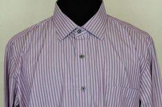 Hart Schaffner & Marx Men's LS Button Front Oxford Shirt Sz 2XL Purple Striped #HartSchaffnerMarx #ButtonFront
